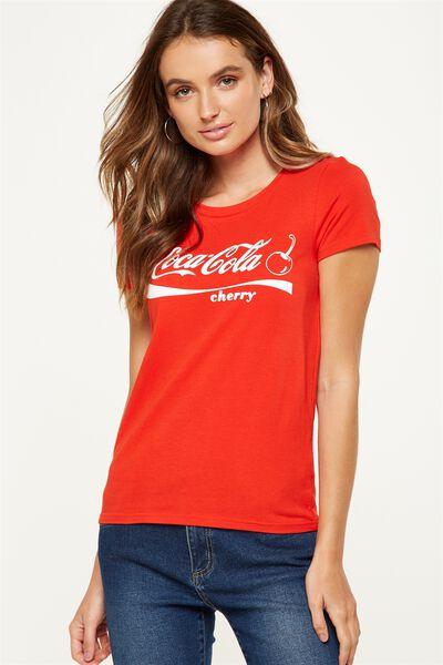 Tbar Hero Graphic T Shirt, LCN CHERRY COKE SCRIPT LOGO/FLAME SCARLET