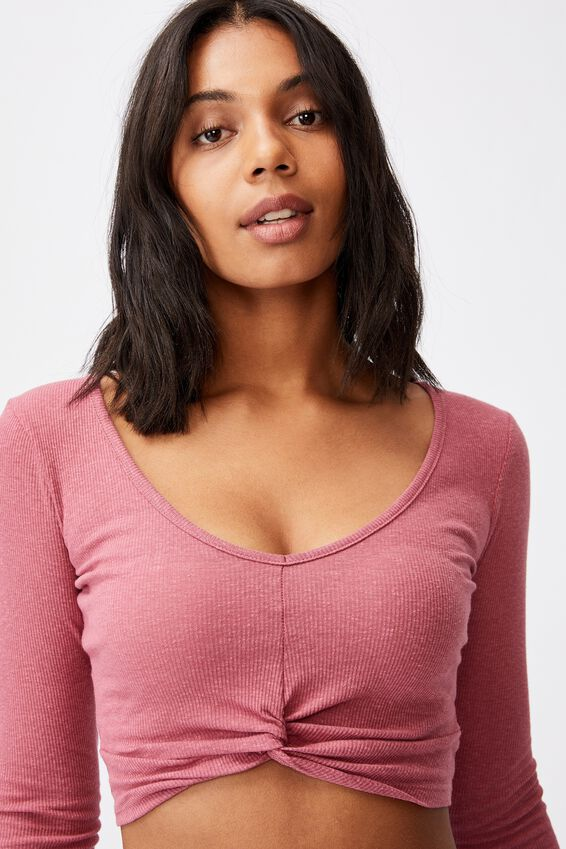 Tilly Twist Front Long Sleeve Top, RUBY PINK
