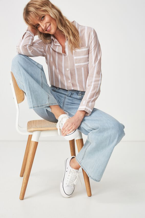 Casual Rebecca Shirt, MIRI STRIPE LATTE/WHITE