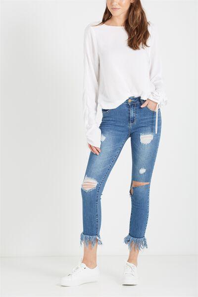 Mid Rise Grazer Skinny Jean, FRINGE BLUE