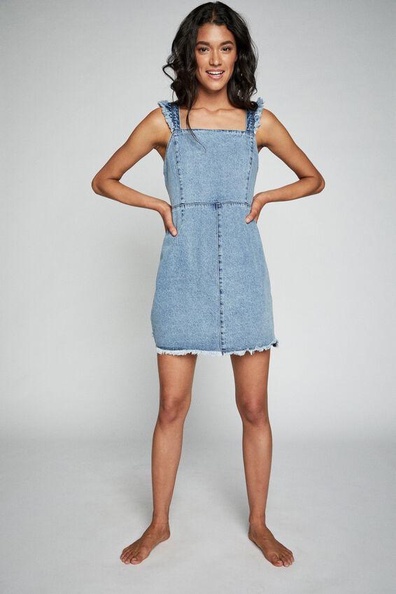 Denim Fray Edge Mini Dress, BOSTON BLUE