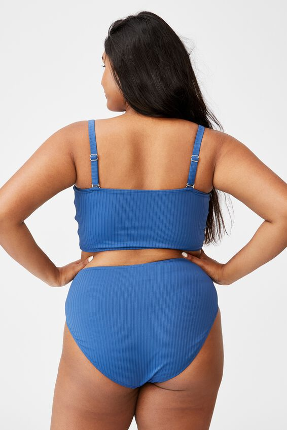 Curve High Waisted Full Bikini Bottom, MARINE BLUE TEXTURE