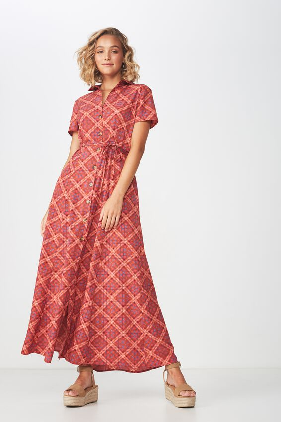 Woven Bernie Button Through Maxi Dress, LILY CROSS CHECK CABERNET