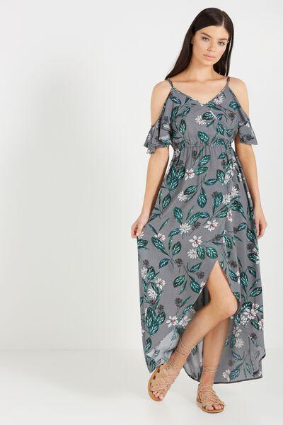 Woven Deb Cold Shoulder Maxi Dress, MAYA FLORAL STEEL GREY