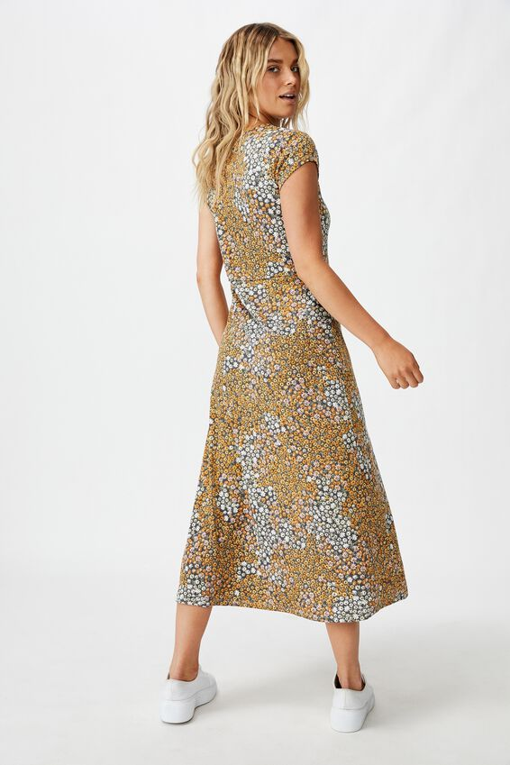 Elsa Short Sleeve Split Front Midi Dress, MANDY MULTI DITSY EBONY