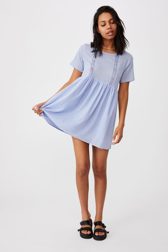 The Good Times Babydoll Lace Mini Dress, POWDER BLUE LACE