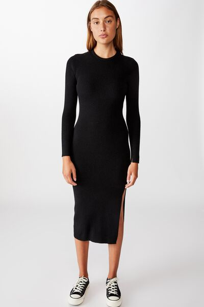 Ella Long Sleeve Maxi Split Dress, BLACK