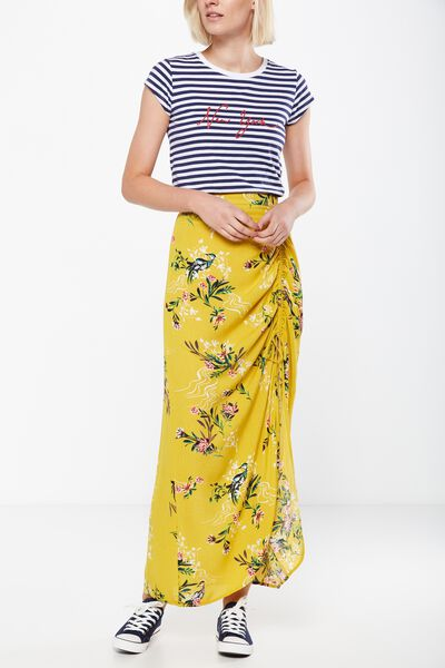 Woven Elora Rouched Maxi Skirt, PENNY ORIENTAL LEMON
