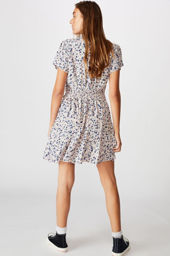 Woven Marissa Gathered Front Mini Dress, BRONTE DITSY ZEPHYR