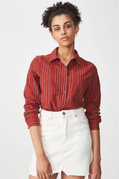Casual Steph Shirt, SALMA STRIPE ROSEWOOD