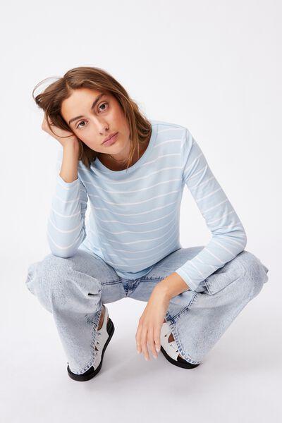 Kathleen Long Sleeve Top, ANGEL STRIPE DAISY BLUE/WHITE