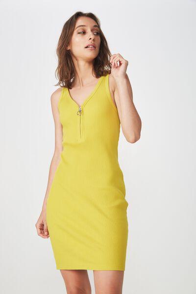 Rumi Quarter Zip Bodycon Mini Dress, ANTIQUE MOSS RIB