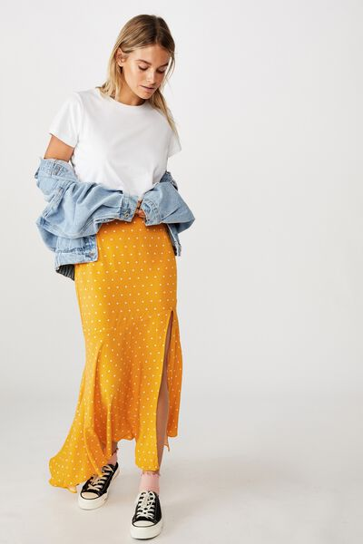 Tahli Split Midi Skirt, AMY SPOT MANGO