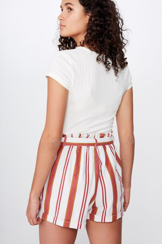 Riley High Waist Short, CLAIRE STRIPE MINERAL RED