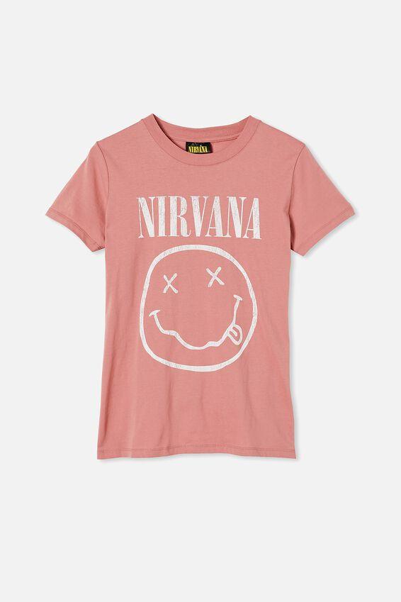 Classic Nirvana Smiley T Shirt, LCN LN NIRVANA SMILEY/DARK MAUVE