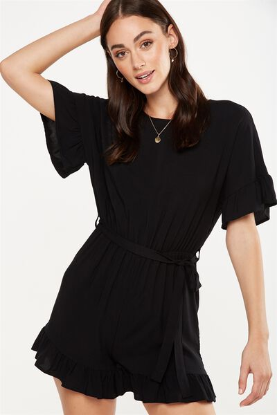 Woven Fay Crew Playsuit, BLACK