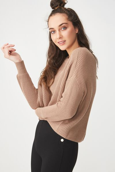 Archy Cropped Pullover, PORTABELLA