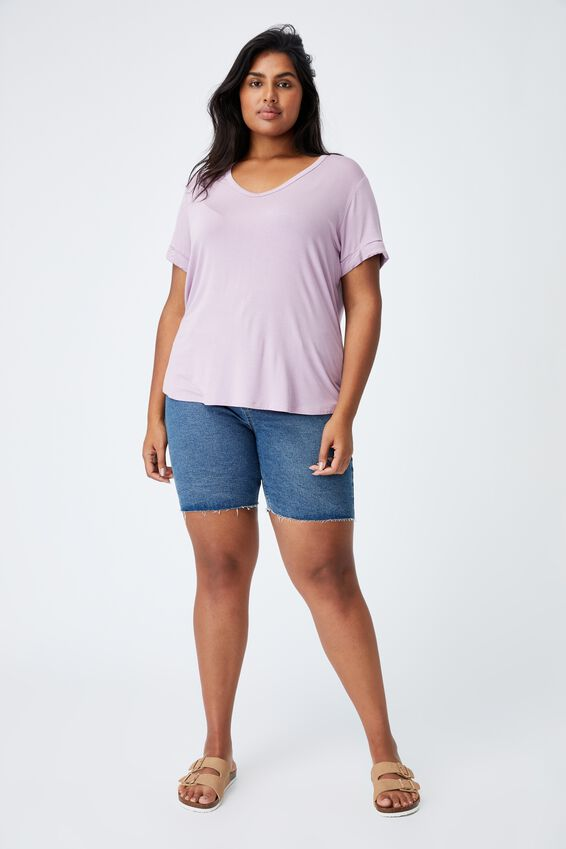 Curve Karly Short Sleeve Tee, SOFT MAUVE