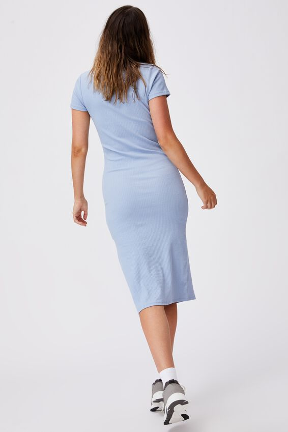 Essential Split Short Sleeve Midi Dress, DUSK BLUE