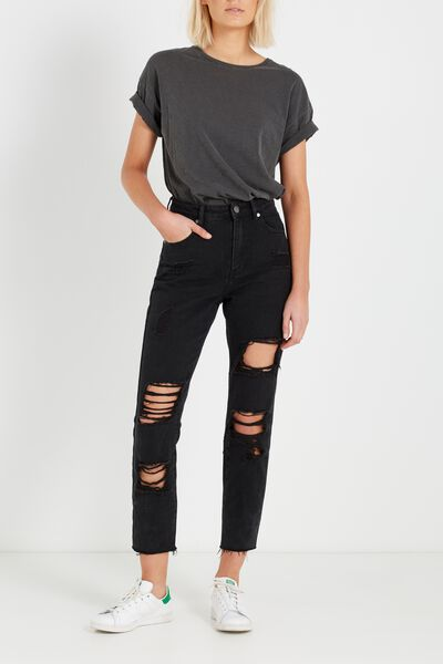 High Rise Relaxed 90S Jean, BLACK BUSTED RIPS