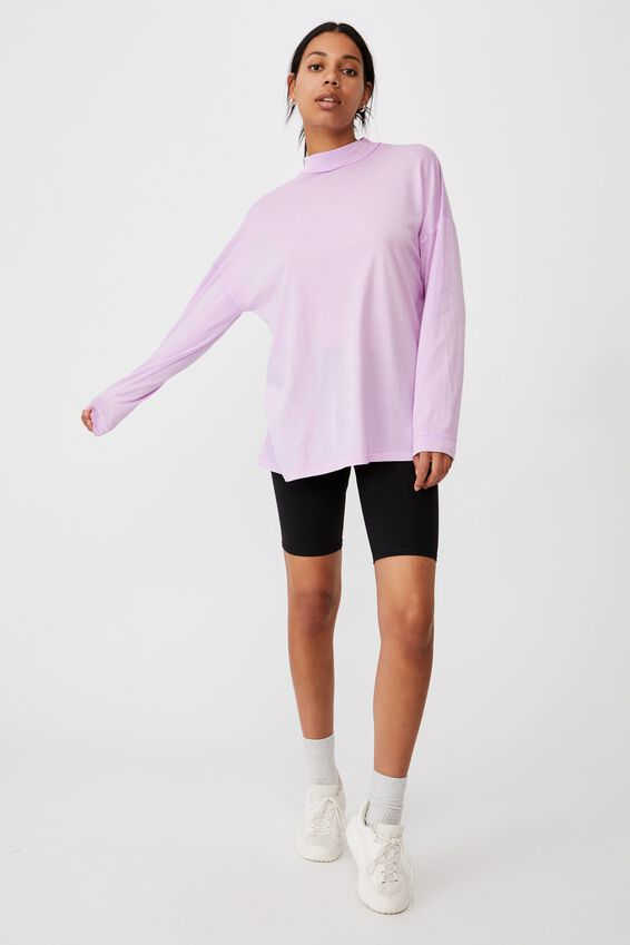 90S Longline Drop Shoulder Long Sleeve Top, WASHED LILAC