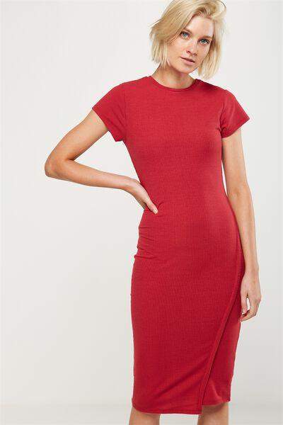 Anthea Short Sleeve Midi Dress, CERISE RIB TWIST
