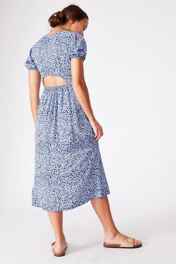 Woven Amber Open Back Midi Dress, QUINN DITSY MEDIEVAL BLUE