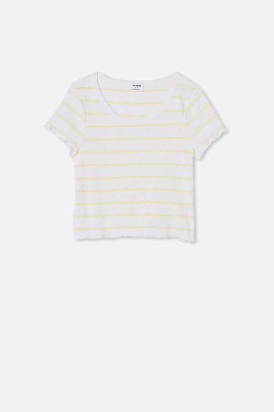 Turnback Short Sleeve Top, ZOE STRIPE WHITE/LEMON