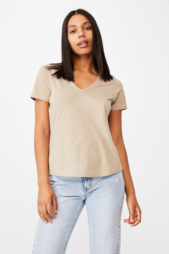 The One Fitted V Tee, VINTAGE TAUPE MARLE