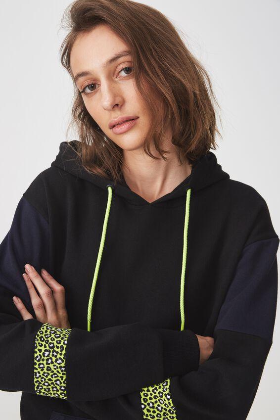 Premium Fashion Hoodie, BLACK/MOONLIGHT/MOLLY LEOPARD SPLICE