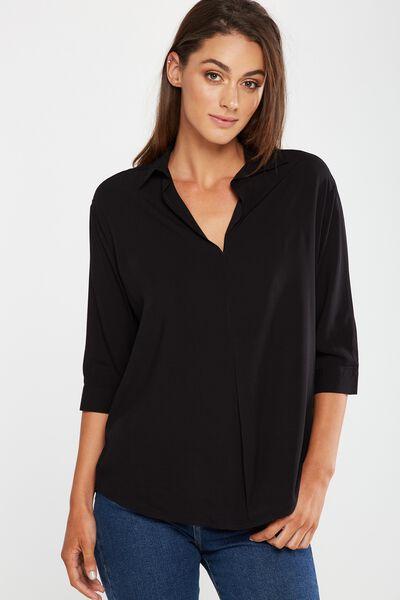Bex Popover Shirt, BLACK