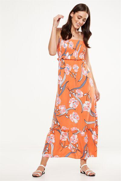 Woven Miranda Shirred Strappy Maxi Dress, AMELIE FLORAL FLAMINGO