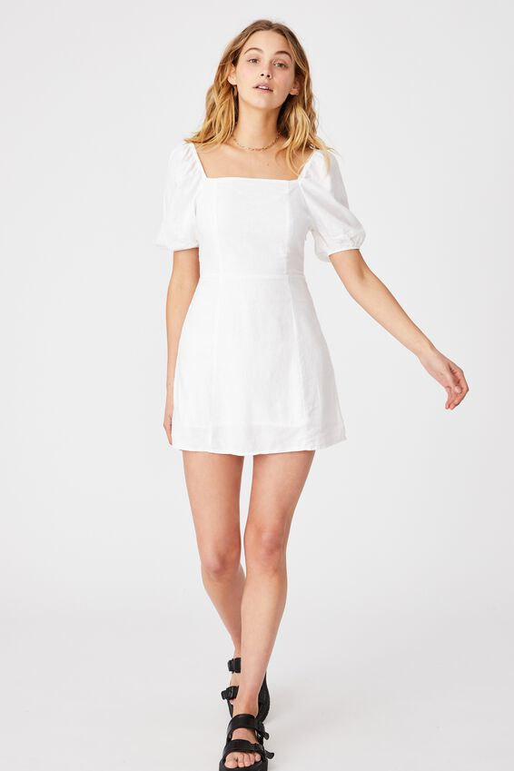 Woven Leona Bell Sleeve Mini Dress, WHITE