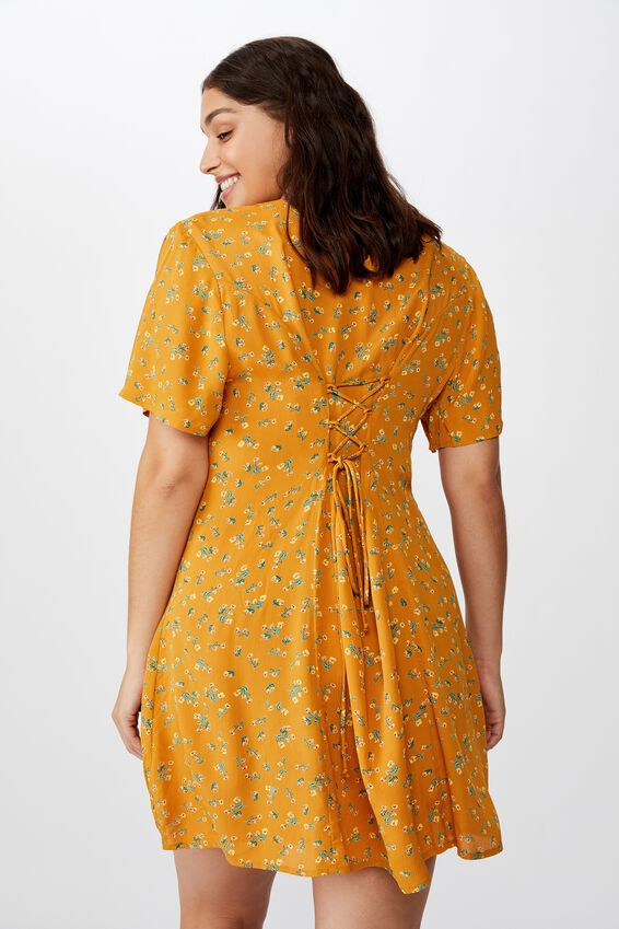 Curve Cindy Mini Dress, MADDISON FLORAL BITTER GOLD