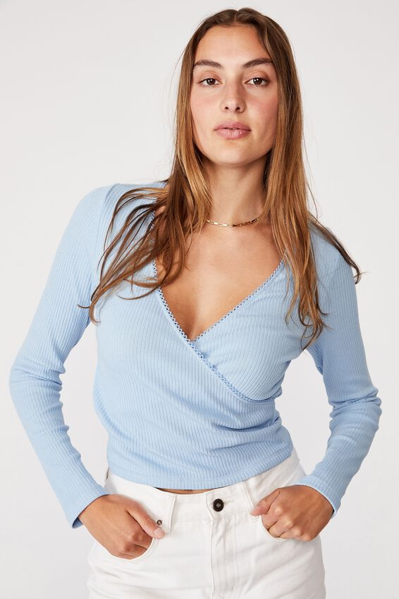Wade Wrap Long Sleeve Top, AUTHENTIC BLUE