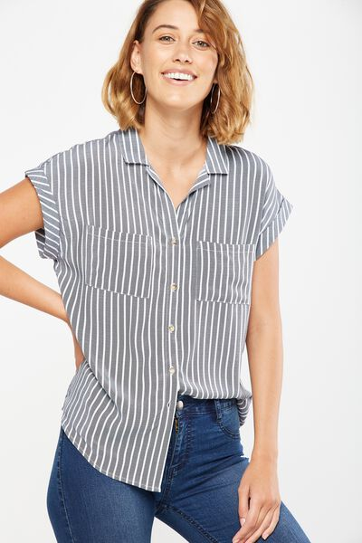 Emily Short Sleeve Shirt, HARRIET STRIPE NAVY