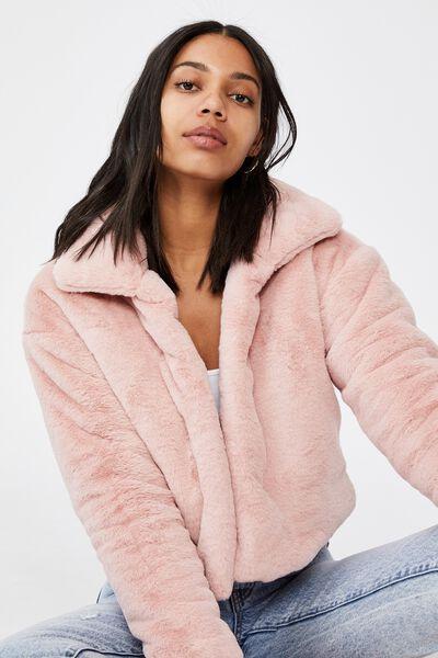 Cropped Fur Coat, BLUSH PINK