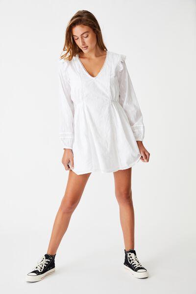 Woven Goldie V Neck Mini Dress, WHITE