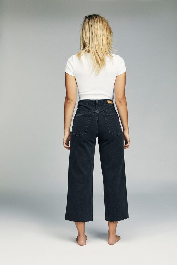 Wide Leg Cropped Jean, VINTAGE BLACK