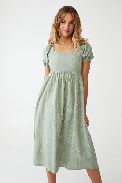 Woven Petite Mariah Midi Dress, EZRA SPOT WASHED FERN