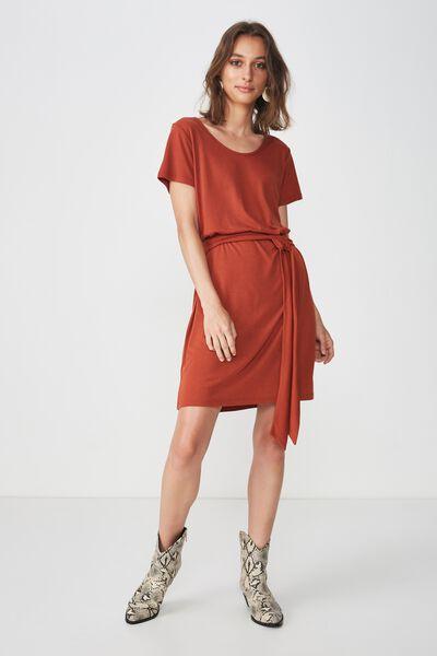 Bella Tie Front T-Shirt Dress, ARABIAN SPICE