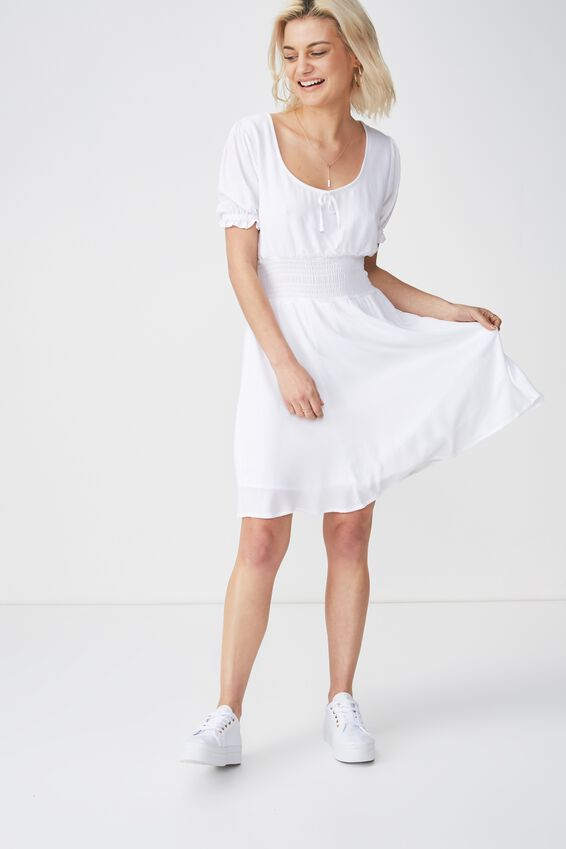 Woven Hazel Prairie Cap Sleeve Dress, WHITE