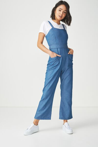 Pinafore Jumpsuit, DENIM MID WASH BLUE