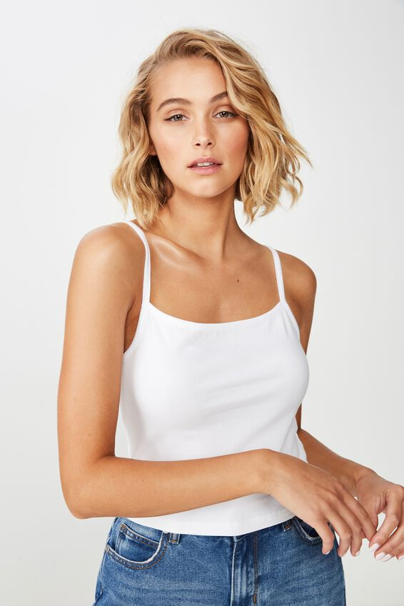 Fashion Crop Cami, WHITE 2