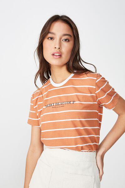 Classic Slogan T Shirt, MERCI BEAUCOUP SUNBURN/WHITE STRIPE