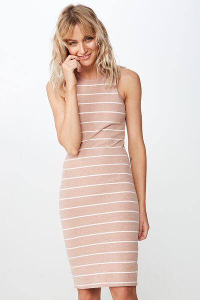 Lena Midi Dress, AMANDA STRIPE ROSE TAN