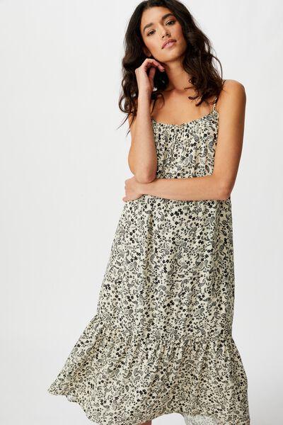 Woven Serena Straight Neck Midi Dress, BLAIR FLORAL PAISLEY PARCHMENT