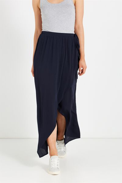 Woven Raya Wrap Maxi Skirt, DEEPEST NAVY