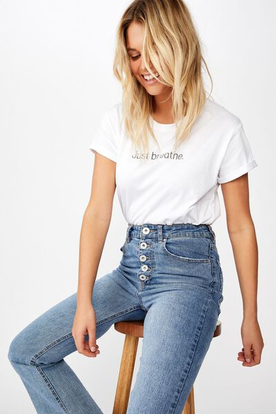 Classic Slogan T Shirt, JUST BREATHE/WHITE