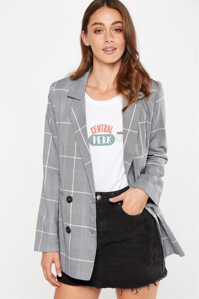 Boyfriend Blazer, BLACK & WHITE PRINCE OF WALES CHECK